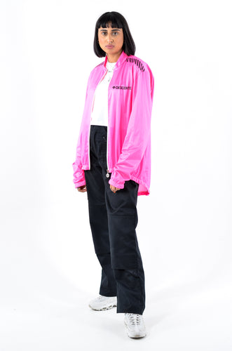 DESCENTE Neon Pink Track Top in Size Large