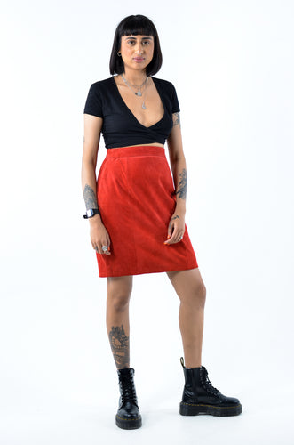 Red Suede Pencil Skirt in Waist 26