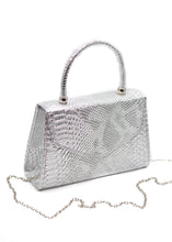 Patent Mini Bag in Silver Snake Print