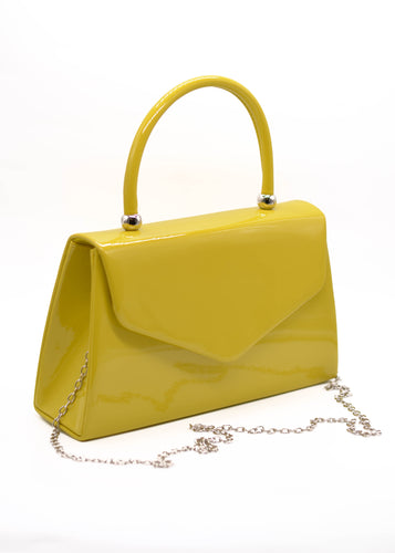 Patent Mini Bag in Yellowy Green