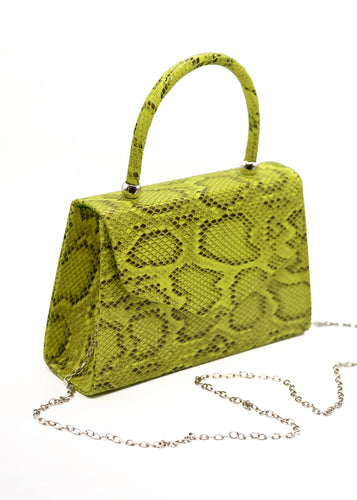 Patent Mini Bag in Yellow Snake Print