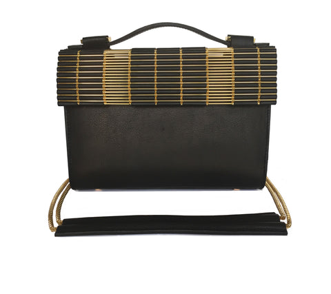 Kate Box Satchel Black with Chain Strap