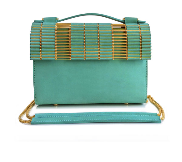 Kate Box Satchel Turquoise with Chain Strap