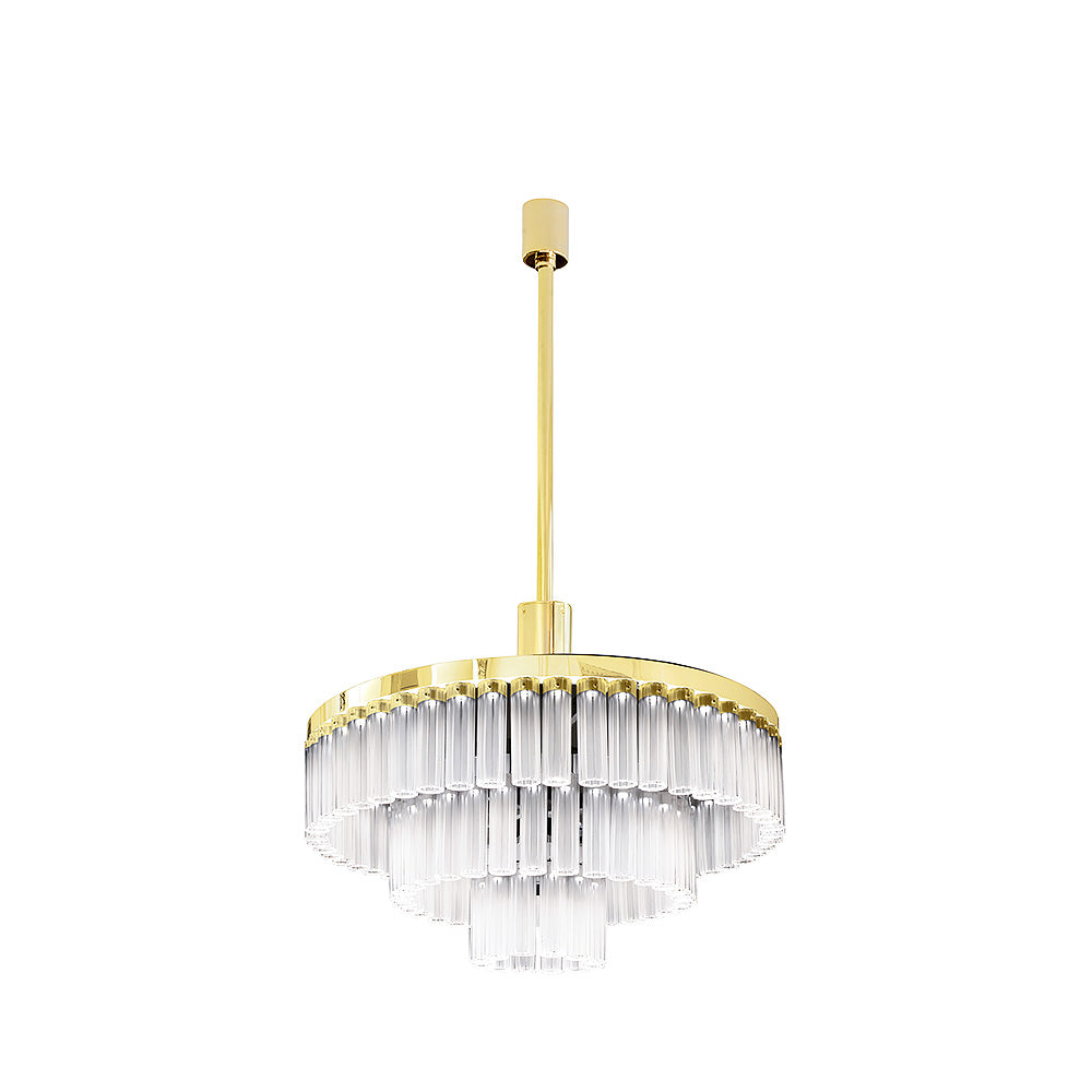 "Chandelier ""Orgue"" Gold 3 Tiers - Lalique"