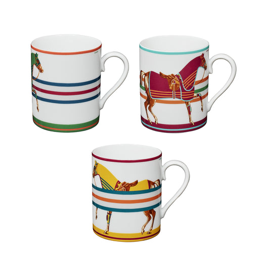 "Set of 3 Mugs ""Cheval à la Couverture"" - Hermes"