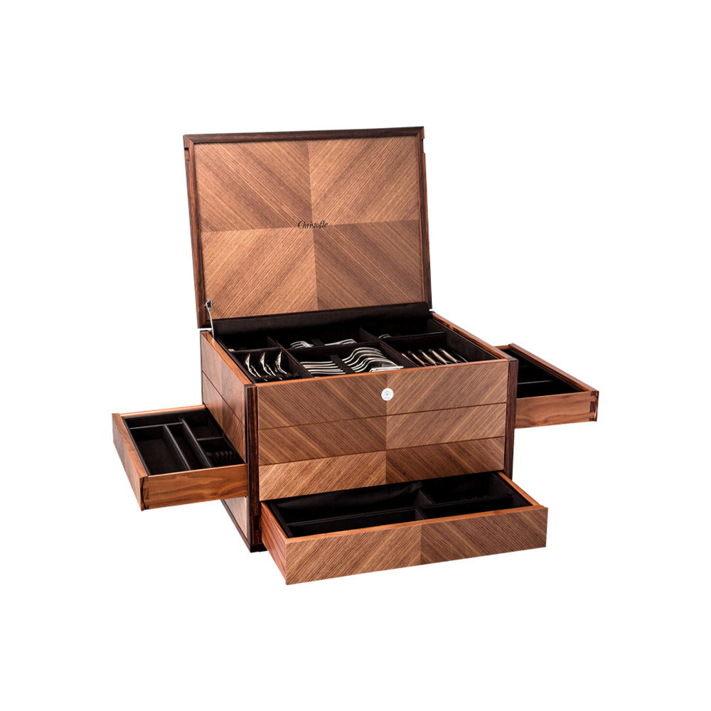 Walnut Marquetry Flatware Storage Chest - Christofle