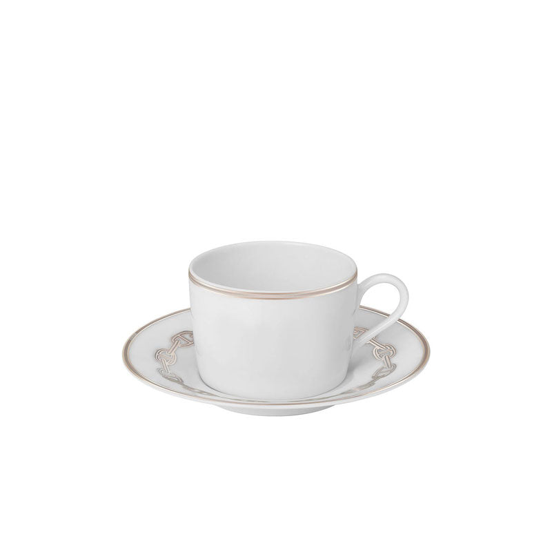 "Coffee Cup and Saucer ""Chaine d'Ancre Platinum"" - Hermes"
