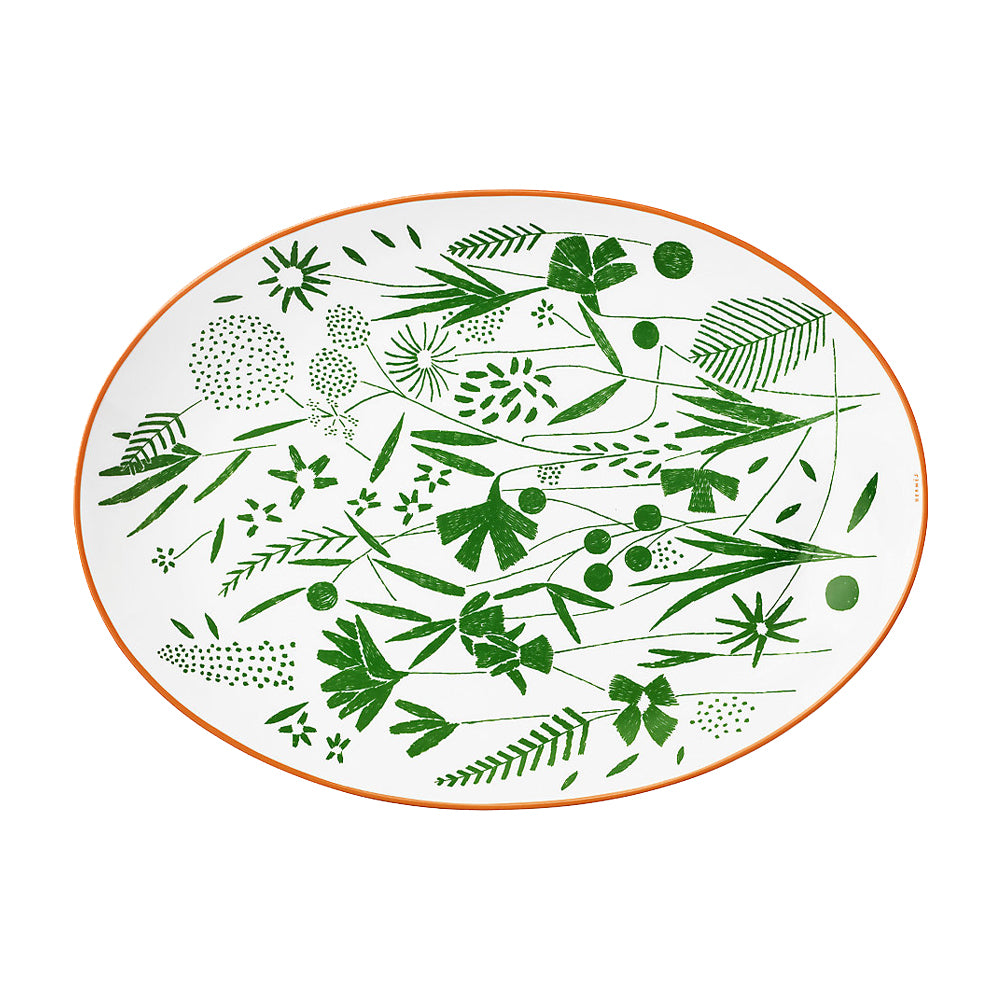 "Oval Platter ""A walk in the Garden"" - Hermes"