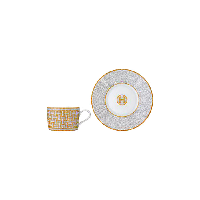 "Tea Cup and Saucer ""Mosaique au 24 Gold"" - Hermes"