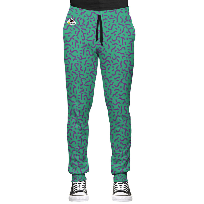 90s Joggers with Purple and Green all over print