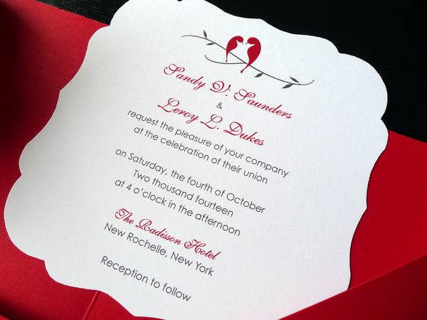 Love Birds on a Branch Square Wedding Invitation