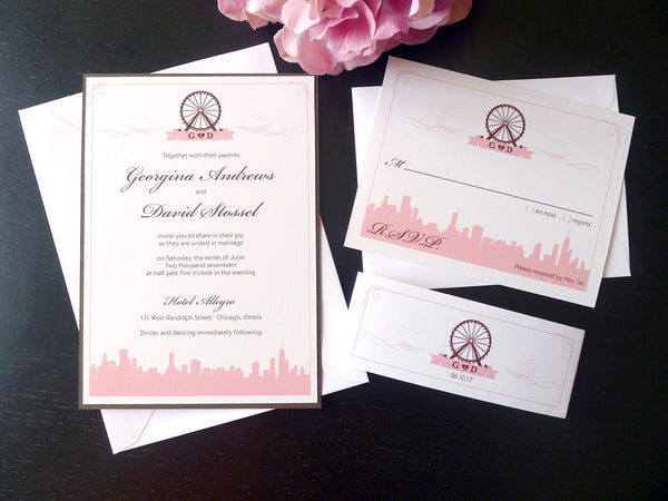 Chicago Skyline & Navy Pier Ferris Wheel Wedding Invitation