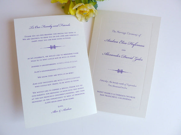 Classic Bevel Wedding Ceremony Program