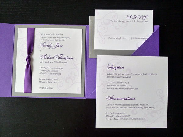 Corner Swirls Elegant Pocketfold Wedding Invitation