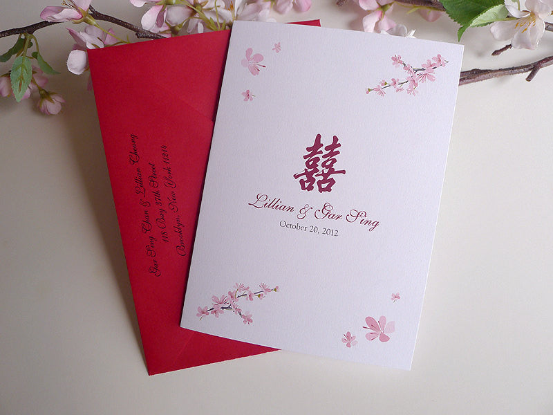 Cherry Blossoms Folded Wedding Invitation