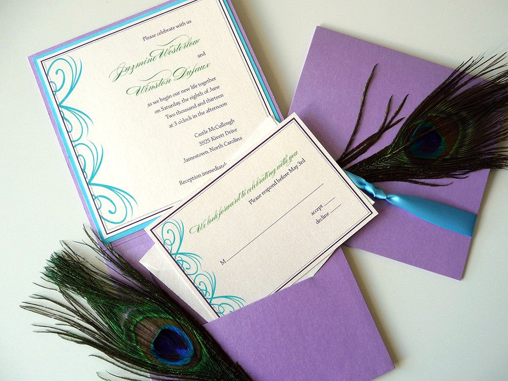 Peacock Inspired Square Wedding Invitation