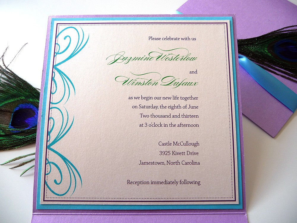 Peacock Inspired Wedding Invitations