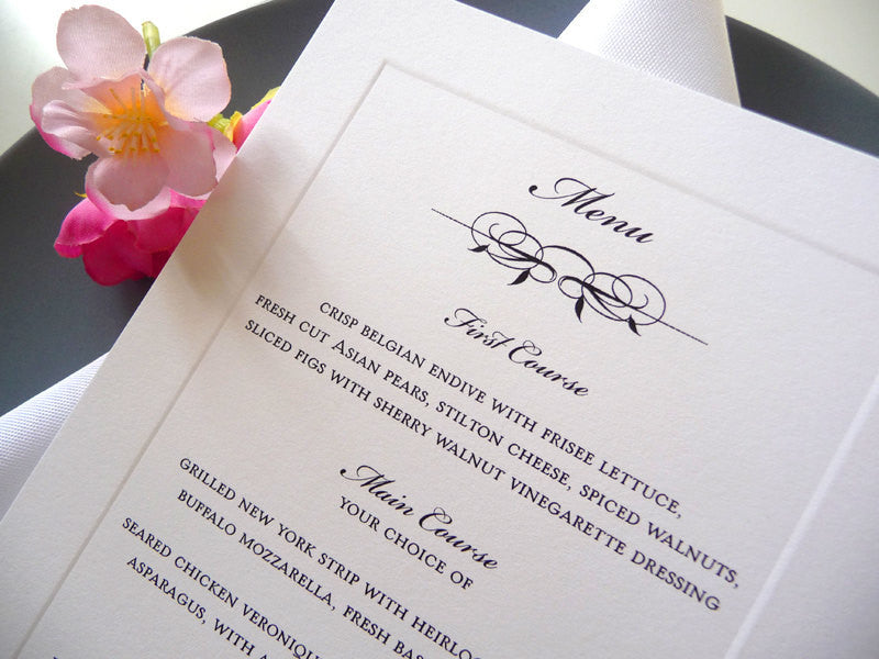 Classic Bevel Wedding Reception Dinner Menu