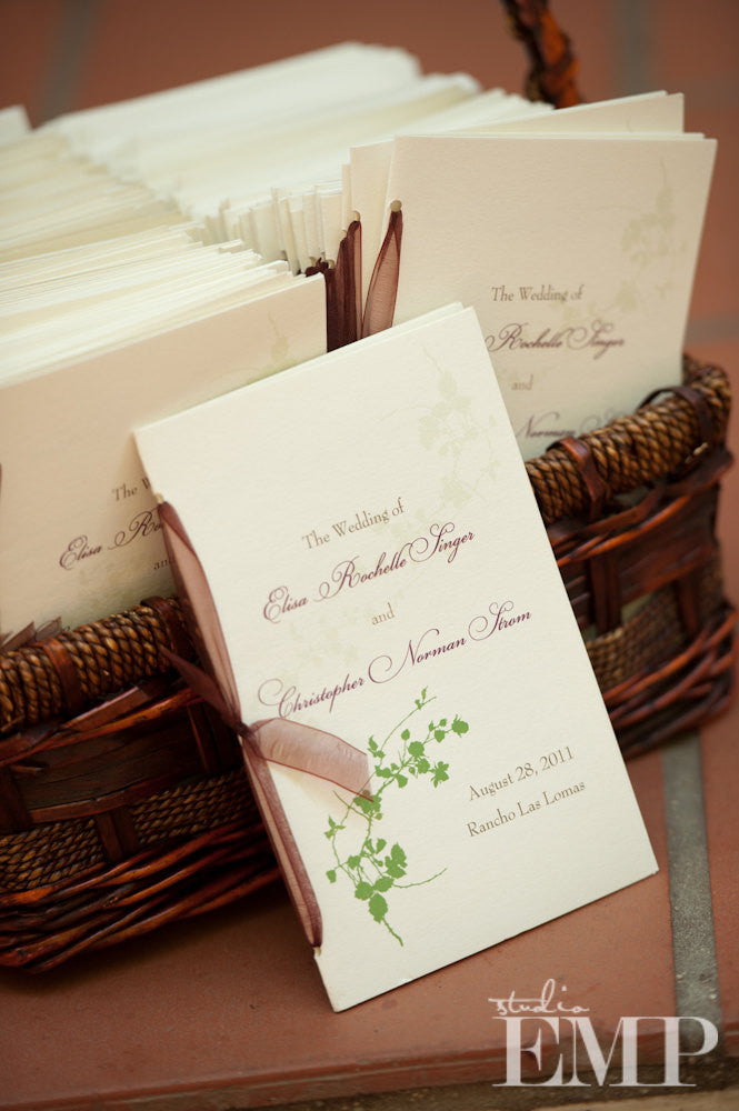 Cotton Blossoms Wedding Ceremony Programs with Ribbon Ties