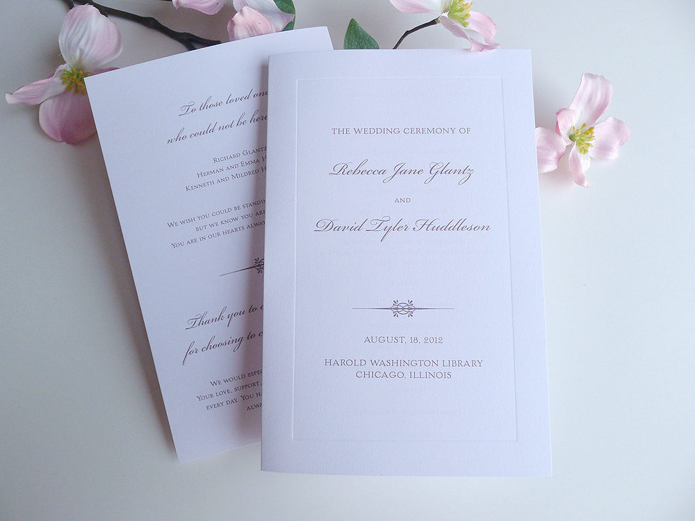 Classic Bevel Wedding Ceremony Programs
