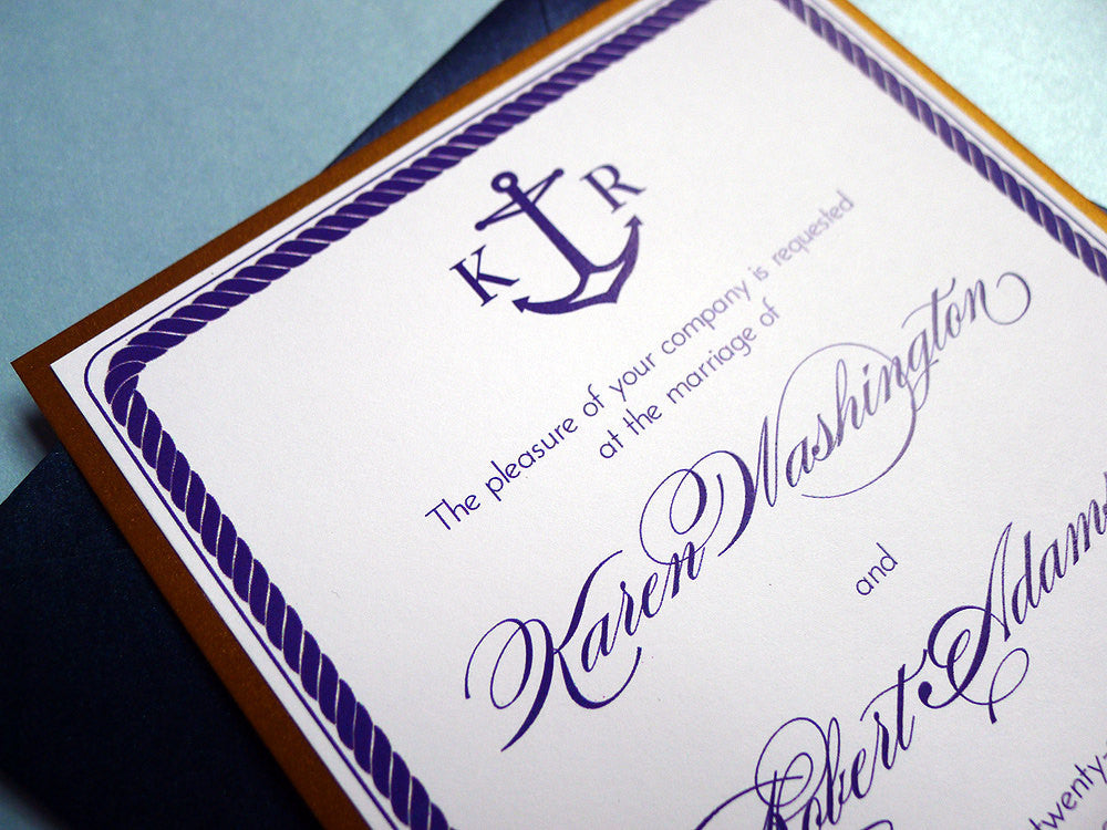 Anchors Aweigh Nautical Themed Wedding Invitation