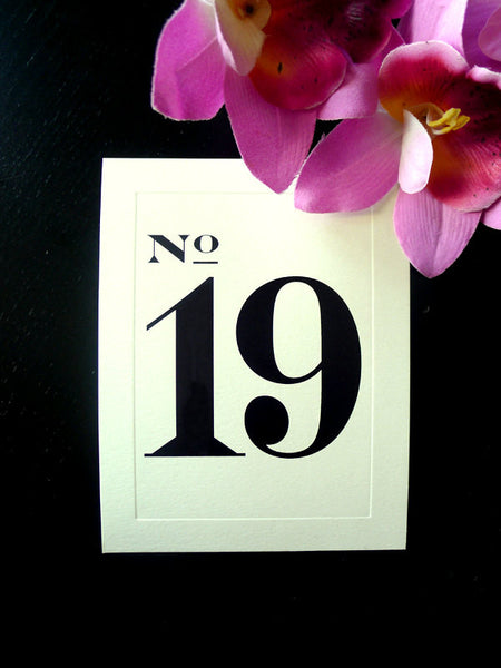 Classic and Bold Bevel Table Number Cards