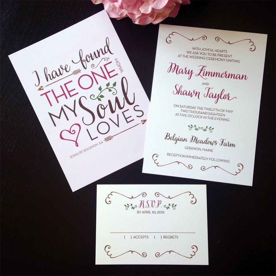 Romantic Love Quote Wedding Invitation