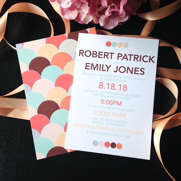 Colorful and Modern Wedding Invitation Set