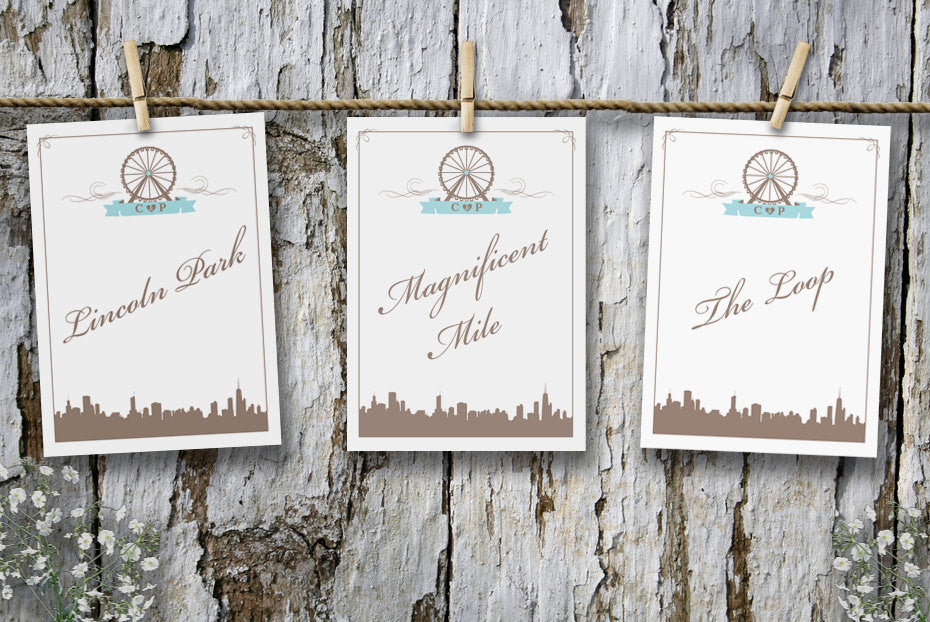 Chicago Skyline & Navy Pier Ferris Wheel Table Cards