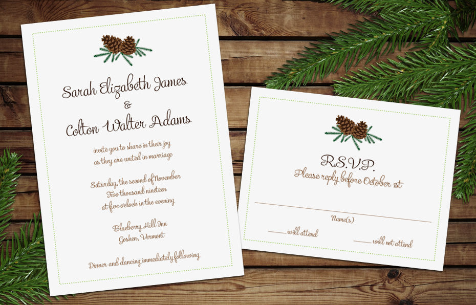 Rustic Pine Cones Wedding Invitation
