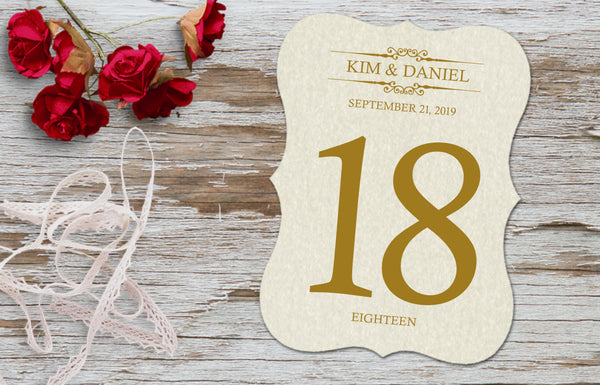 Classic Bracket Double Sided Table Number Cards