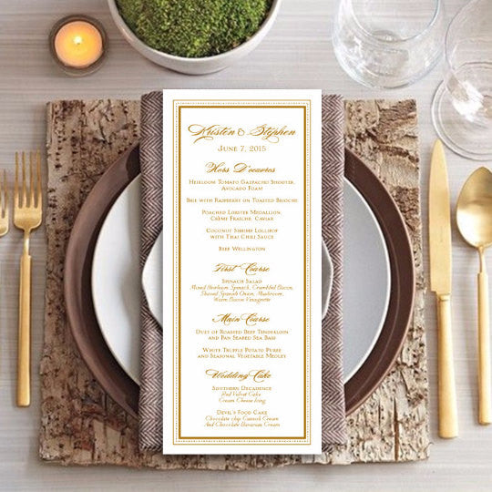 Classic Gold Slim Line Wedding Menu Cards