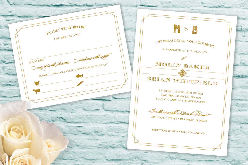 Art Deco Inspired Monogram Wedding Invitation