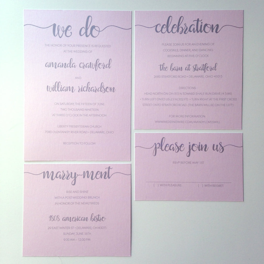 Romantic Blush Sweet & Simple Tiered Wedding Invitation Set