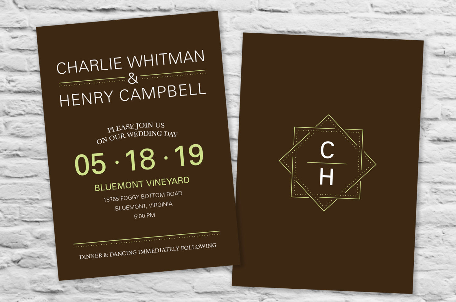Contemporary Style Wedding Invitation - Pretty Stationery for ...