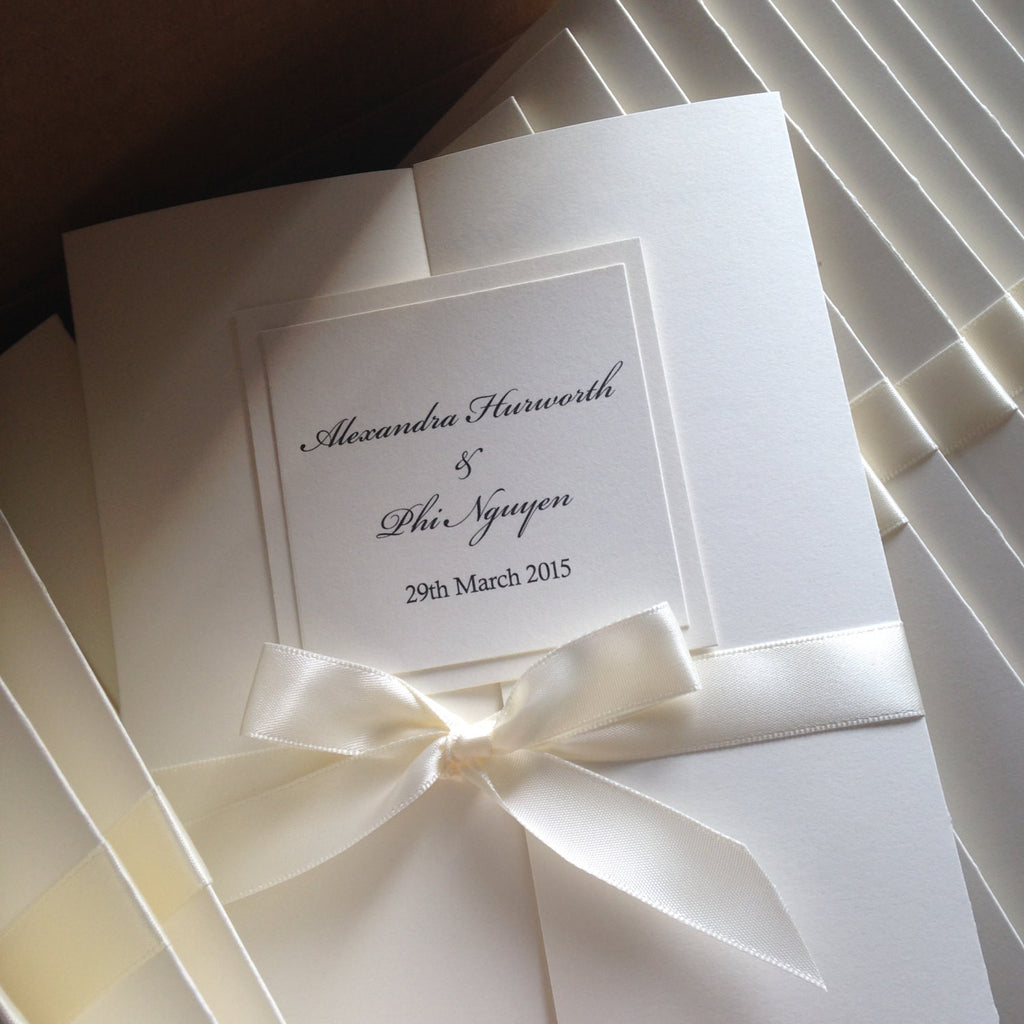 Classic & Elegant Gate Fold Wedding Ceremony Programs with Satin Ribbon Ties