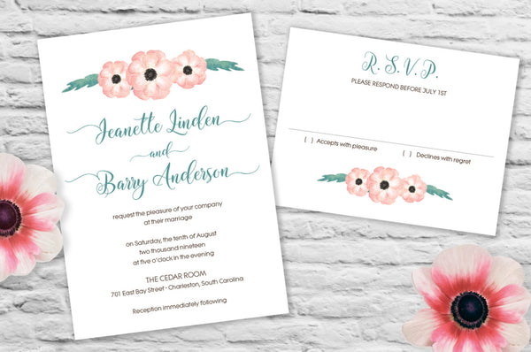 Anenome Flower Wedding Invitation