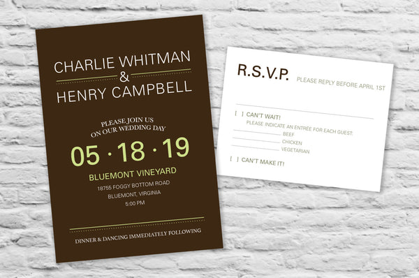 Contemporary Style Wedding Invitation