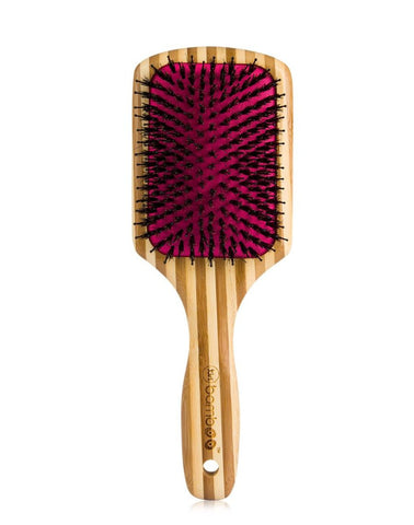 Mixed bristle paddle brush for professional hairstylists