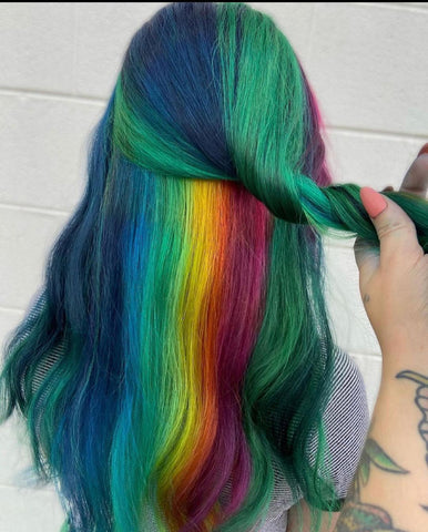 rainbow color for thick hair