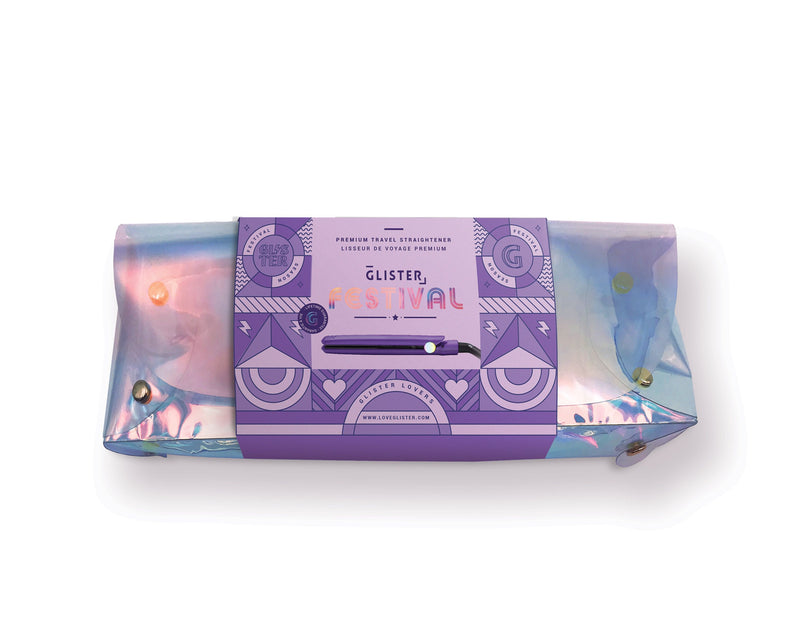 Mini Flat Iron & Holographic Belt Bag Set- Ultraviolet