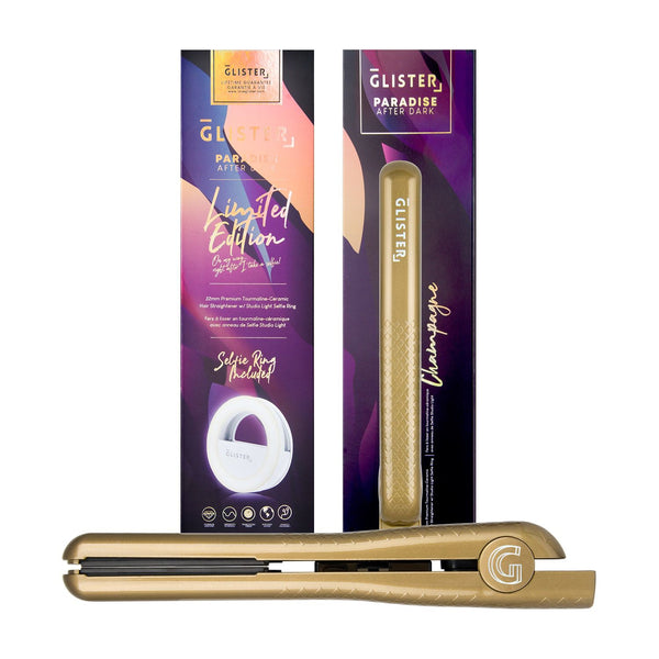 "Limited Edition 1.25"" Paradise After Dark Flat Iron (with BONUS Selfie Ring) - Champagne"