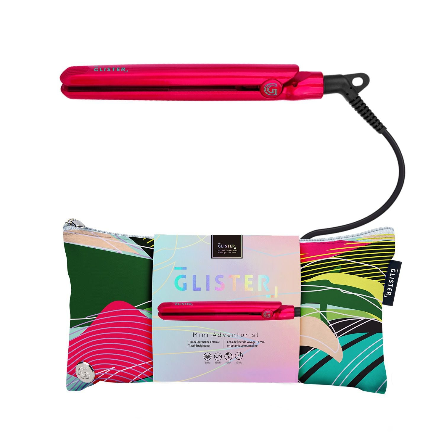 Mini Adventurist Flat Iron (with Designer Travel Pouch) - Flamingo