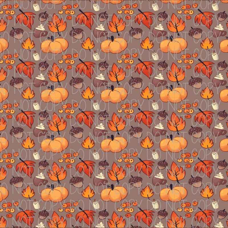 Autumn Pumpkins, Leaves, and Acorns Patterned Heat Transfer Vinyl