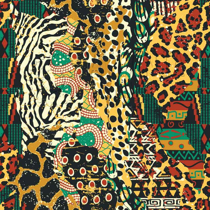 Imani - African Fabric & Animal Print Patchwork Patterned Adhesive Vinyl