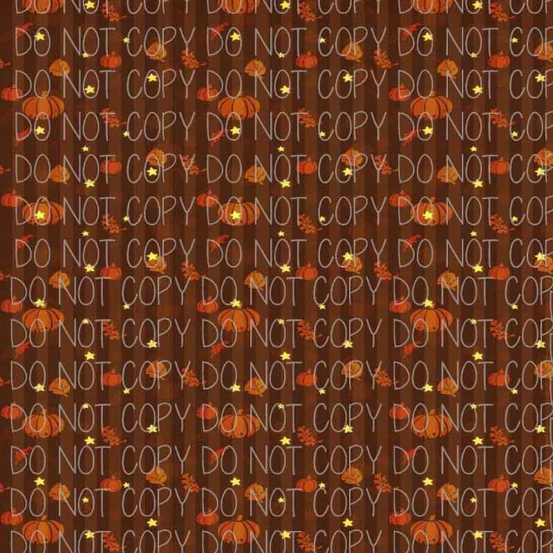 Autumn Pumpkins on Brown Patterned Adhesive Vinyl