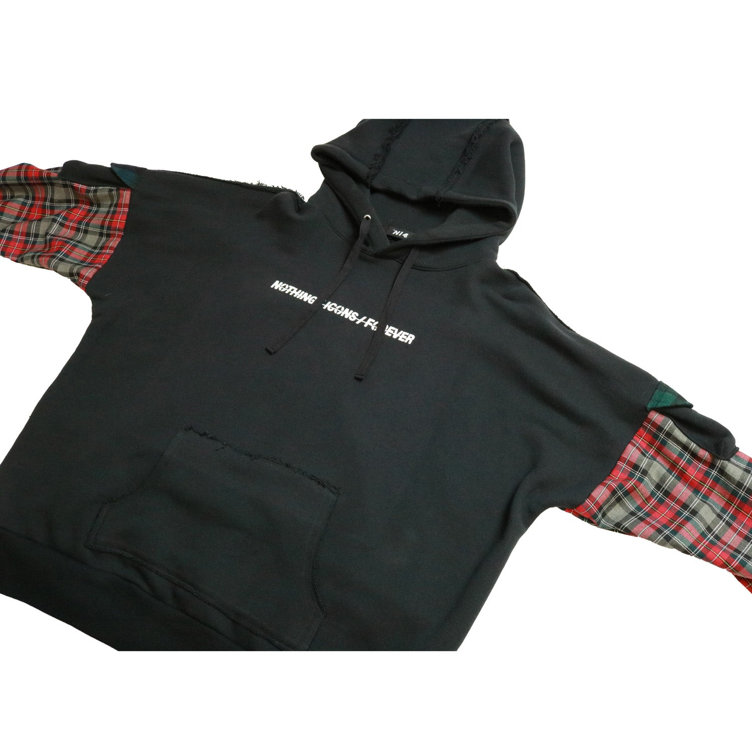 ROUGH FLANNEL SLEEVES HOODIE