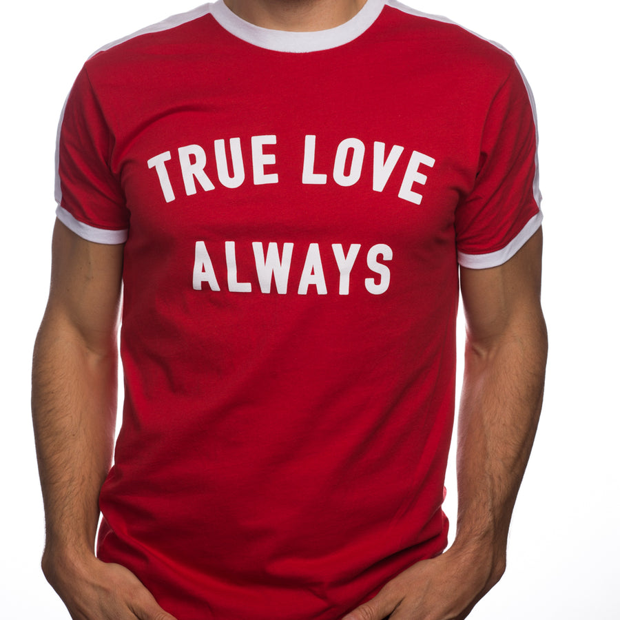 True Love Always Unisex Red Ringer T-shirt