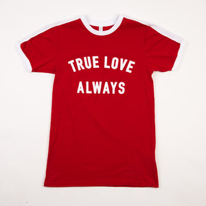 True Love Always Youth Ringer T-Shirt (red)