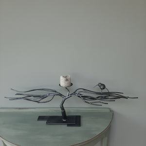 """Double branch with Kingfisher""  Candle holder"